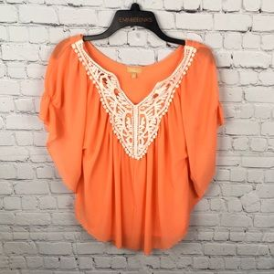 TAKARA Coral Embroidered Flutter Style Cape Blouse